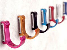 Colorful Hook Decorative Hooks / Wall Hooks Metal Hooks / Coat Hangers Wall Towel Hanger / Red Yellow Blue Black Silver Pink Home Decor by Anglehome on Etsy
