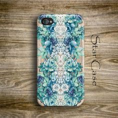 Floral iPhone 5 Case, Wood Print iPhone 5s Case, Blue iPhone 4 Case, Floral iPhone 4s Case, iPhone 4 Case, Girly iPhone Case by Star Case