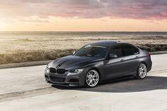 BMW 2015 335i Fully vinyl wrapped with 3M 1080-M261 Matte Dark Gray by Rolotech Car Wraps.  Wheels by @vmrwheels