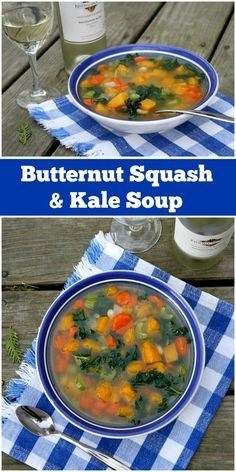 Recipe for a healthy, chunky butternut squash and kale soup, fresh herbs and white beans. Nutritional information and weight watchers points included. Fun Easy Recipes, Ww Recipes, Chili Recipes, Easy Meals, Kale Soup Recipes, Weight Watcher Dinners, Weightwatchers Recipes, Healthy Eating Recipes, Winter Food