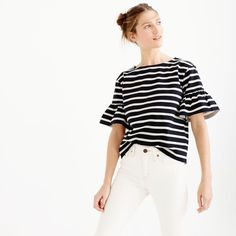 J.Crew Ruffle-Sleeve Top ($66) ❤ liked on Polyvore featuring tops, white shirt, stripe top, loose fitting tops, loose shirts and loose white shirt