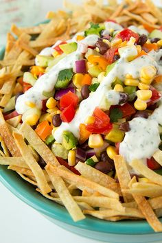 Mexican Chopped Salad with Greek Yogurt Cilantro Lime Ranch Dressing