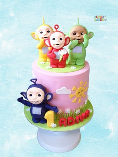 Teletubbies cake Teletubbies Birthday Cake, Teletubbies Cake, 1st Birthday Cakes, 1st Birthday Parties, Cake Topper Tutorial, Cake Toppers, Childrens Meals, Girl Cakes, Celebration Cakes