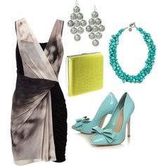 Draped Dress. Different accessories.