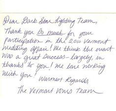 """Vermont Vows """"Wedding Affair 2010"""" team thanks Dark Star."""