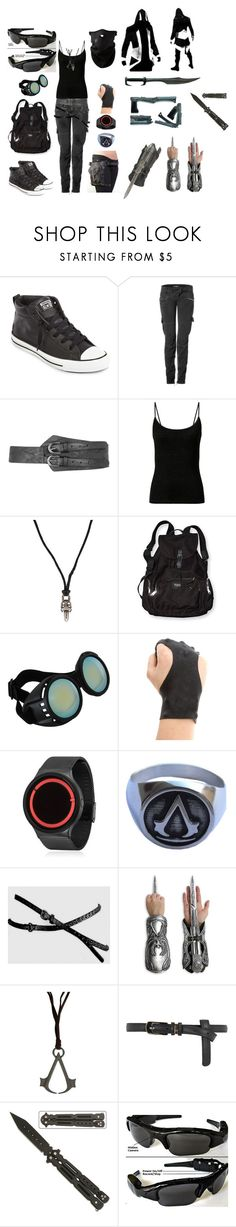 """""""Angel Rodriguez -Assassin Creed Modern-"""" by wicked-life ❤ liked on Polyvore featuring Converse, Balmain, Dorothy Perkins, Chrome Hearts, Victoria's Secret, Elope, ZIIIRO, Gerber, Spy Optic and modern"""