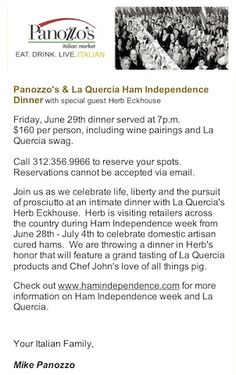 La Quercia Dinner at Panozzo's in Chicago-- June 29th, 2012