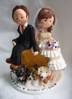 Personalised bride and groom wedding cake topper-Orders for December 2012 onwards - Fully booked through up till November 2012.. $150.00, via Etsy.
