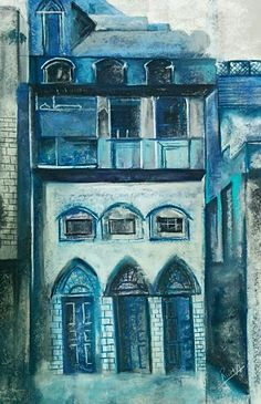 Blue architectural pastel painting by reedsart