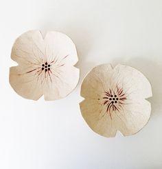 Ceramic poppy sculptures set 2 Cream textured by PrinceDesignUK