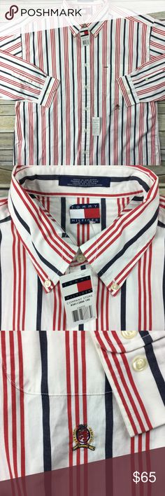 NEW Tommy Hilfiger Men's XL Shirt Button Down VTG Item: NEW Tommy Hilfiger Men's XL Shirt Button Down Long Sleeved 90s Vintage Striped  Size: Men's XL  Color: Multi-Color Striped  Smoke Free Home. Tommy Hilfiger Shirts Casual Button Down Shirts