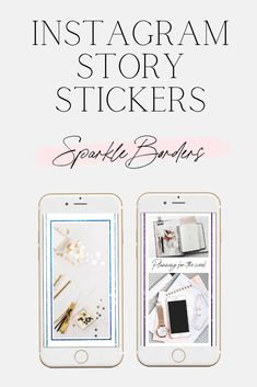 Sparkle Borders and Frames for Instagram Stories | Sparkly Girly Stickers for Blogger and Influencer