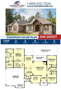 2200 Sq Ft House Plans, One Level House Plans, Brick House Plans, Large House Plans, Open Floor House Plans, Porch House Plans, 4 Bedroom House Plans, Basement House Plans, European House Plans