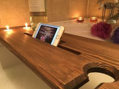 Relaxation Bath Board. These bath boards are made with quality in mind. Each one is hand made to ensure quality never slips! Every edge on the board has been routed to give it a sleek and contemporary look and it has been hand stained to ensure protection from the water steam. It has a