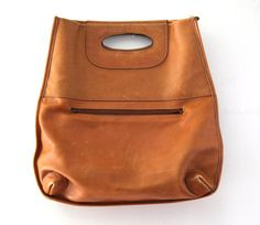 Vintage 60s 70s Leather hand bag purse clutch tote by 2artists216, $28.00. A little mink oil and its good as new.