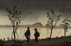 Kobayashi Kiyochika(小林清親 1847ー1915)「隅田川夜」(1880)