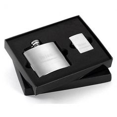 Groomsmen gift idea: engraved flask and lighter.