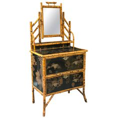 19th Century English Bamboo and Lacquer Dressing Table | From a unique collection of antique and modern dressers at https://www.1stdibs.com/furniture/storage-case-pieces/dressers/