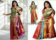 Tri Color Brocade Silk Saree | Saree Blouse Patterns