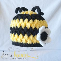 Etsy shop - Newborn Crochet Bee Beanie by Bee's Beanies Newborn Crochet, Crochet Baby Hats, Crochet For Kids, Wooly Hats, Knitted Hats, Crochet Bee, Kids Hats, Baby Crafts, Loom Knitting