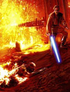 Obi-Wan Kenobi and Anakin Skywalker on Mustafar Star Wars Film, Star Wars Jedi, Star Wars Poster, Star Wars Art, Anakin Vs Obi Wan, Star Wars Personajes, Dc Comics, Darth Vader, Star Wars Images