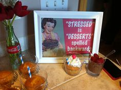 Bridal Shower desserts - milkshake cupcake and chocolate mousse - 1950s Housewife Bridal shower