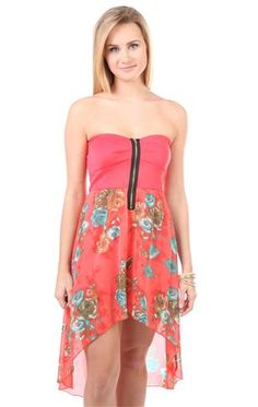 Deb Shops #coral zip front bra bodice #floral printed high low dress