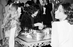 Bebe Buell, Jimmy Page and Lori Mattix at the Swan Song Party in 1974. Photos by Neil Zlozower