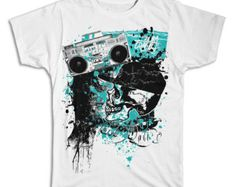 Boombox Skull collage t-shirt printed on comfortable ringspun cotton t-shirt.  Skull design is perfect for skate and streetwear.