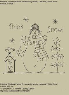 Primitive Snowman Stitchery EPattern por pelo JoAnnCountryCorner