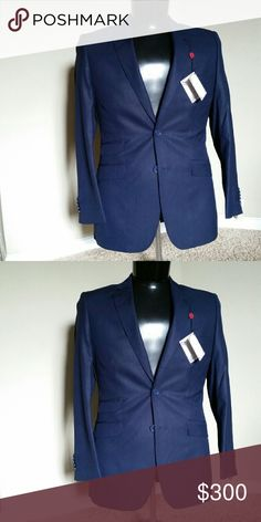 Men suit sz 38 SIZE: 38R Brand: english landry  2 pcs (pant and jacket )  Nice suits for groom, wedding, guess, business,  church. .. Boasting rich navy blue fabric with subtle black stripes, you'll have the gentlemanly flair you need to stand out. Features a notch lapel so you can accessorize and refine your look even further. Single-breasted suit jacket. Flat front suit pants.  Single-breasted Two-button front Jacket features 4 front pockets and 3 interior pockets 4-pocket flat front pants…