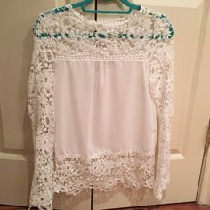 Crochet sheer blouse. Beautiful crochet top.  Worn once. Fits true to size.  Like new condition Tops Blouses