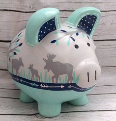 Personalized Piggy Bank Navy mint and grey Moose by Alphadorable