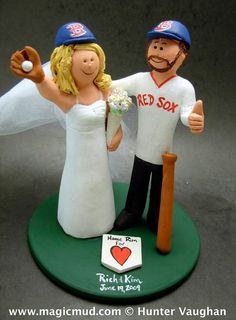 Boston Red Sox Baseball Wedding Cake Topper, Wedding Cake Topper for Baseball Fans    This photographed listing is but an example of what we will create for you.    magicmud.com $235 #magicmud 1 800 231 9814 www.magicmud.com