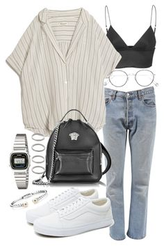 """Untitled #21540"" by florencia95 ❤ liked on Polyvore featuring Levi's, T By Alexander Wang, MASSCOB, Versace, Ahlem, Vans, Casio, Forever 21 and Blue Nile"