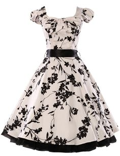 Threeseasons Women Vintage Dresses 1950s Floral Cap Sleeve Party Dress at Amazon Women's Clothing store: