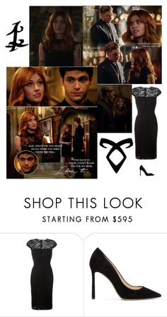 """""""Outfit #710/Season 2 Episode 8"""" by nmr135 ❤ liked on Polyvore featuring Rune NYC, Victoria Beckham, Jimmy Choo, claryfray, shadowhunters, jacewayland, aleclightwood and nmr"""