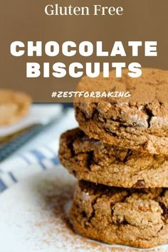 Chocolate fans will love this rich, delicious gluten free chocolate biscuit with two kinds of chocolate! #zestforbaking #glutenfreebread #glutenfreerecipes #glutenfreebaking Gluten Free Sides Dishes, Gluten Free Snacks, Gluten Free Baking, Gluten Free Chocolate, Chocolate Recipes, What Is Gluten Free, Gluten Free Biscuits, Chocolate Biscuits, Mini Chocolate Chips