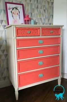 Retro coral and gold chest of drawers /dresser designed for nursery Dresser Drawers, Chest Of Drawers, Monkey Decorations, Coral And Gold, Hand Painted Furniture, Kids Rooms, Nursery, Retro, Inspiration