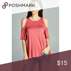 NWT Dusty Rose Cold Shoulder Blouse Super cute cold shoulder shirt. Perfect color for spring! Bundle and save! Free shipping on bundles over $50! Fashionomics Tops Blouses