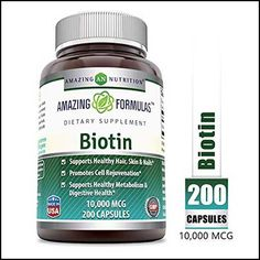 Amazing Formulas Biotin Supplement - - 200 Capsules (Non-GMO, Gluten Free) Supports Healthy Hair, Skin & Nails - Promotes Cell Rejuvenation Best Hair Growth Vitamins, Vitamins For Hair Loss, Vitamin E, Hair Loss Cure, New Hair Growth, Hair Regrowth, Healthy Hair, Cool Hairstyles, Pasta