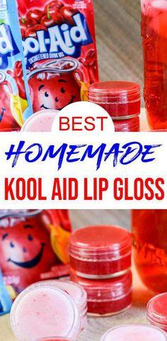 Diy Lip Gloss, Lip Gloss Homemade, Lip Balm Recipes, Lip Gloss Containers, Kool Aid, Diy Lip Balm, Diy Scrub, Salt Scrubs, Sugar Scrubs