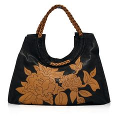 Valentino Black Camel Floral Bag ❤ liked on Polyvore featuring bags, handbags, valentino, accessories, purses, man bag, purse bag, camel purse, camel bag and handbags purses