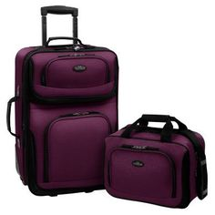 Travelers Choice US Traveler Rio 2 Piece Expandable Carry-On Luggage Set Eggplant Purple - US5600L