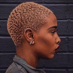 color + cut poppin'. @profashional_tay | bald girl, bald black girl, shaved head