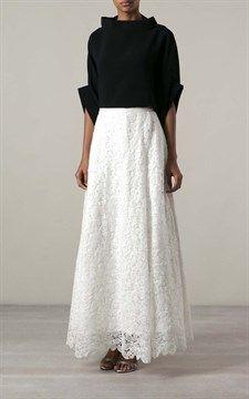 Linen Swiss Lace Hero Skirt White