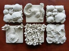 Set of six ocean life wall tiles by LayersOfClay on Etsy