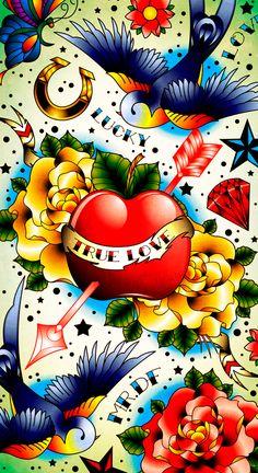 iPhone Tattoo skin by Kirill Kruglov (DZNFlavour) Badass Wallpaper Iphone, Glitch Wallpaper, Kawaii Wallpaper, Love Wallpaper, Pattern Wallpaper, Iphone Wallpaer, Ed Hardy Designs, Ed Hardy Tattoos, Mexico Tattoo