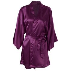 Women s Short Kimono Robe Simplicity Women s Silk Satin Bathrobe... ( 12) ❤ 1d3d743b3d7a