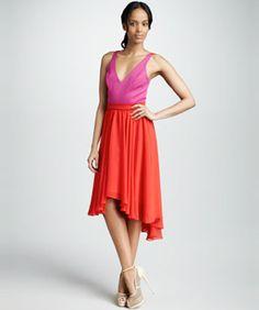 Black Halo Franci Colorblock Dress, $298. This flowy two tone silk dress is…